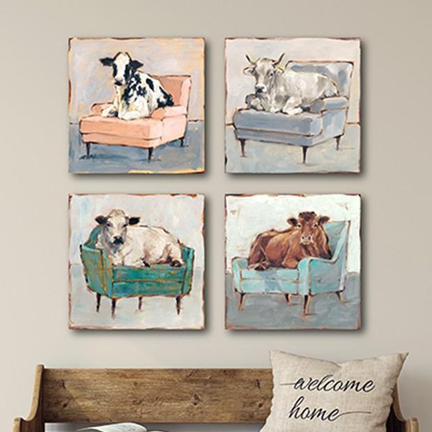 Lounging Cow Wall Art Cow Wall Art Cow Decor Farmhouse Artwork