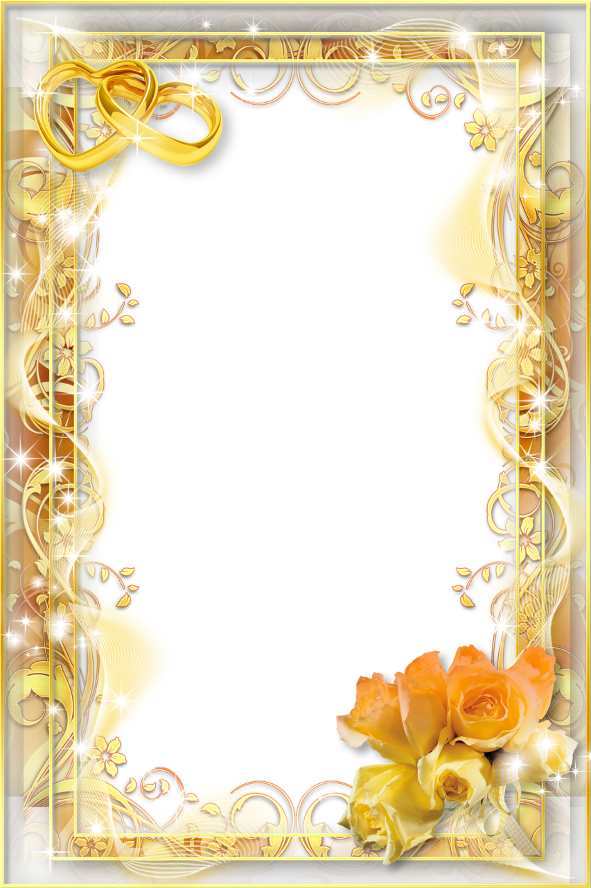 Yellow Wedding Png Photo Frame Gallery Yopriceville High Quality Images And Transparent Png Free Clipart Wedding Frames Photo Frame Ornaments Flower Frame