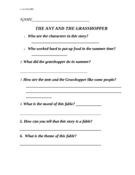 photo regarding The Ant and the Grasshopper Story Printable referred to as Pin upon Printables