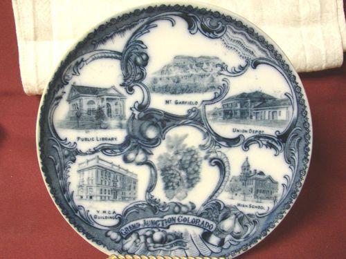 Vintage Wheelock Flow blue Porcelain England Grand Junction Colorado. Plate