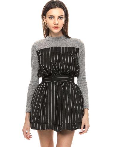 Pin Stripe Sweater Dress - Cute Long Sleeve Dresses - $60