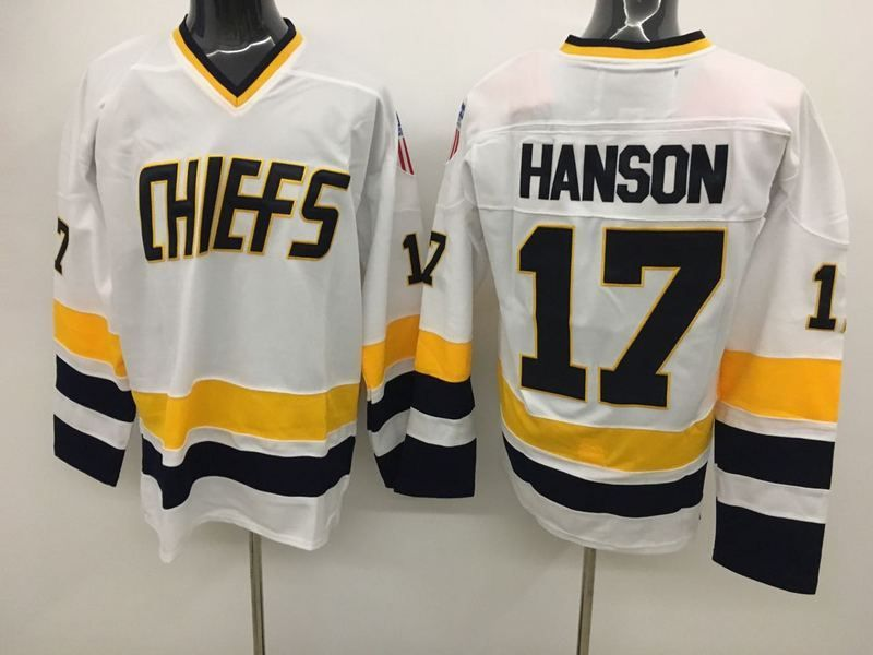 Men S The Movie Mad Hanson Brothers Charlestown Chiefs 17 Steve Hanson Stitched Slap Shot Home Jerseys