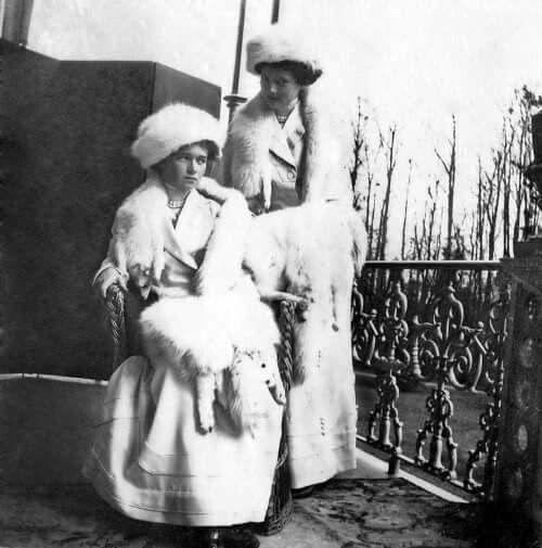 """The Grand Duchesses Olga and Tatiana Nikolaevna Romanova of Russia on the balcony of the Alexander Palace,Tsarskoe Selo. """"AL"""""""