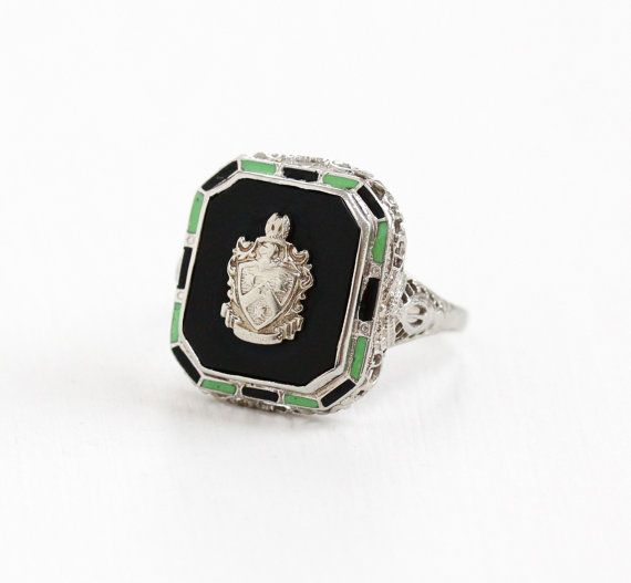 Vintage 10k White Gold Black Onyx Crest Ring - Art Deco Coat of ...