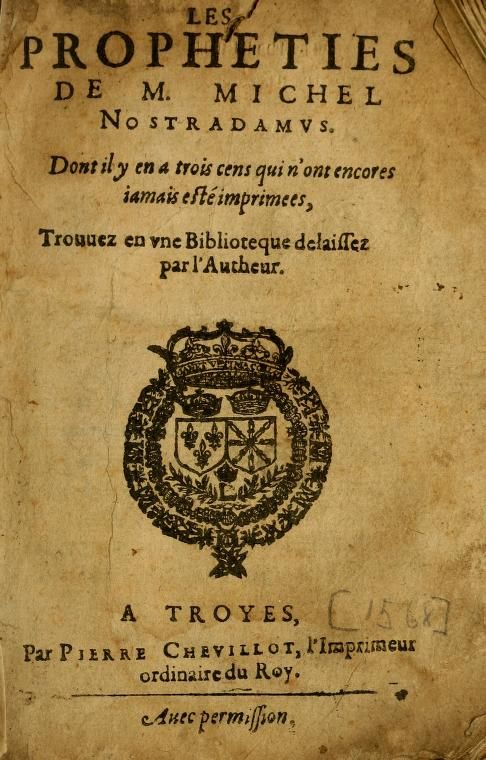 Les Propheties De M Michel Nostradamus All Hallows Eve