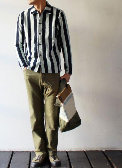 MADE IN INDIGO, Indigo dyed TIGRE BROCANTE / ティグル Blount line stripe shirt Cardigan.