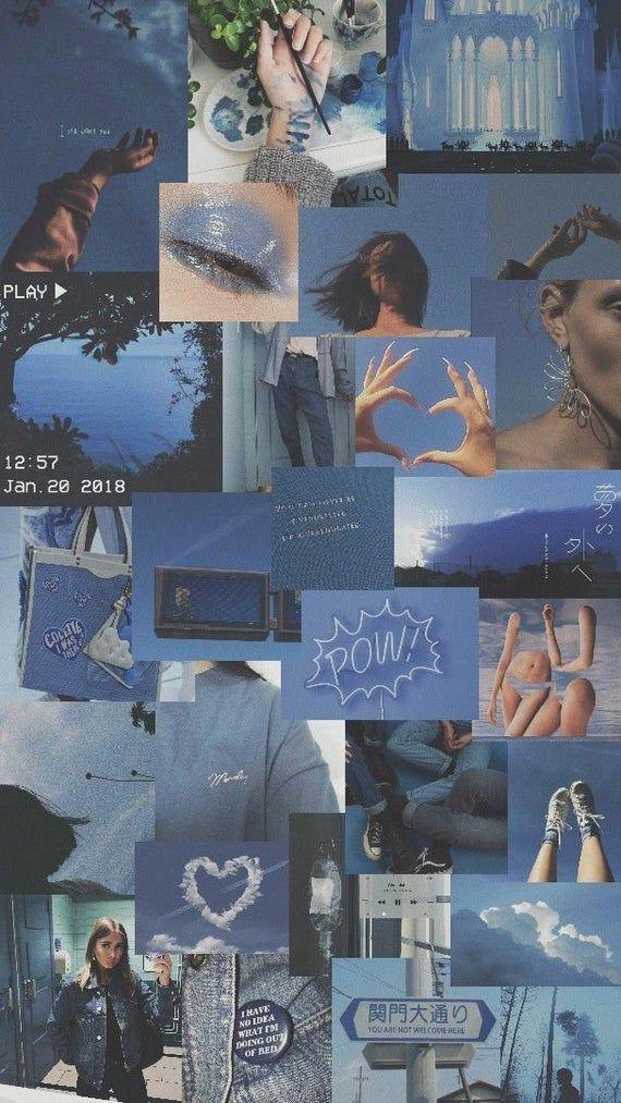 Blue photo collage