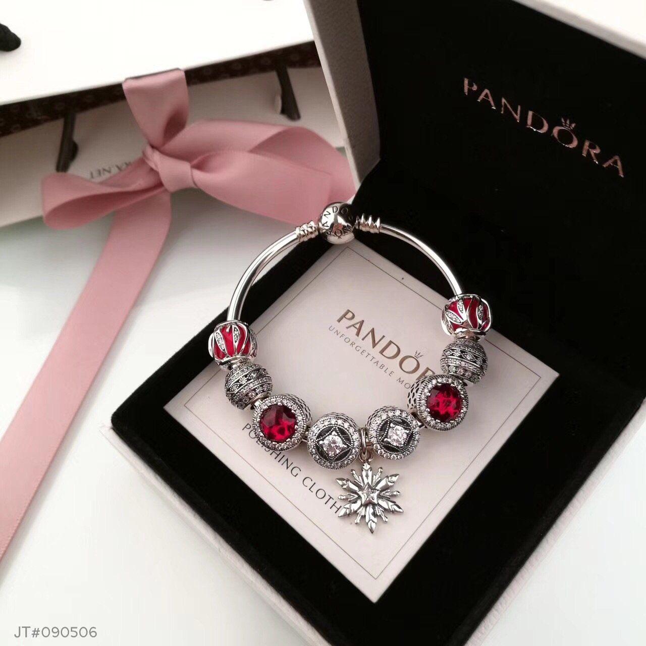 Pandora Red Bracelet With 9 Pcs Charms