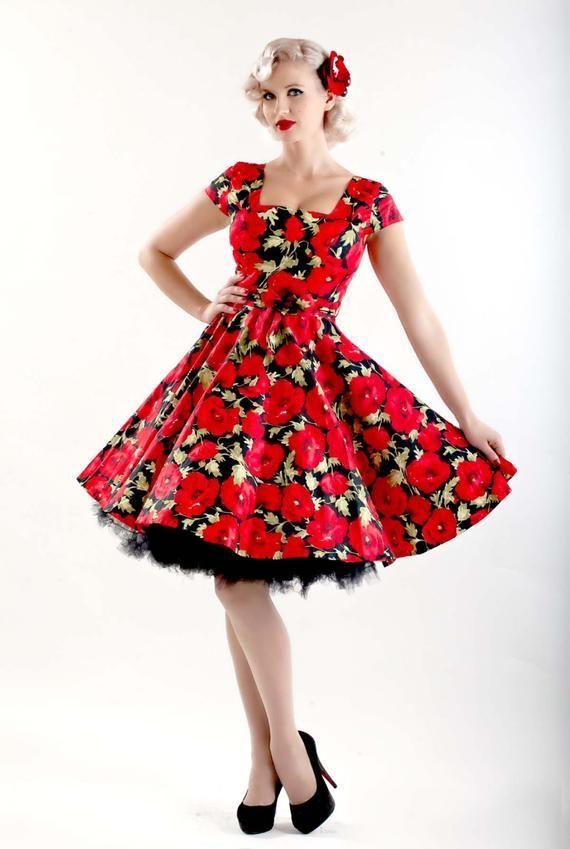 50s Dress Red Vintage Dress Poppy Flower Dress Red Floral Dress Festive Dress Party Dress Swing Dress Bridesmaid Dress Dance Red Dress