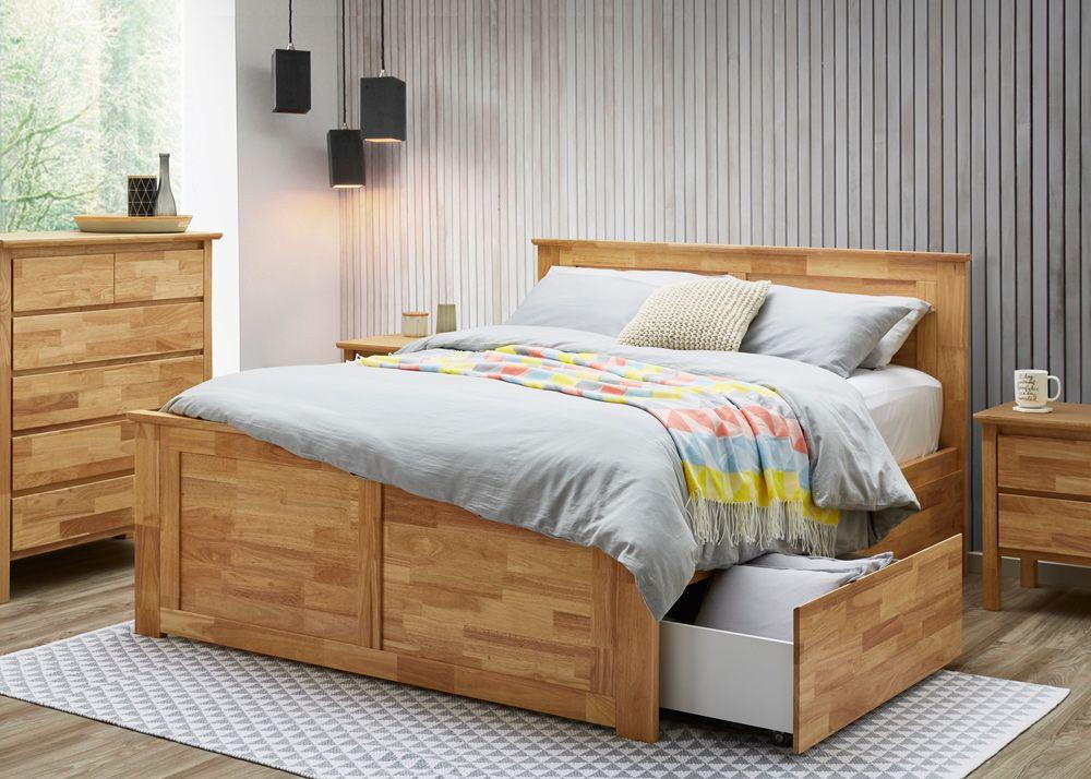 Natural Hardwood Queen Bedroom Suite With Storage King Size Bed