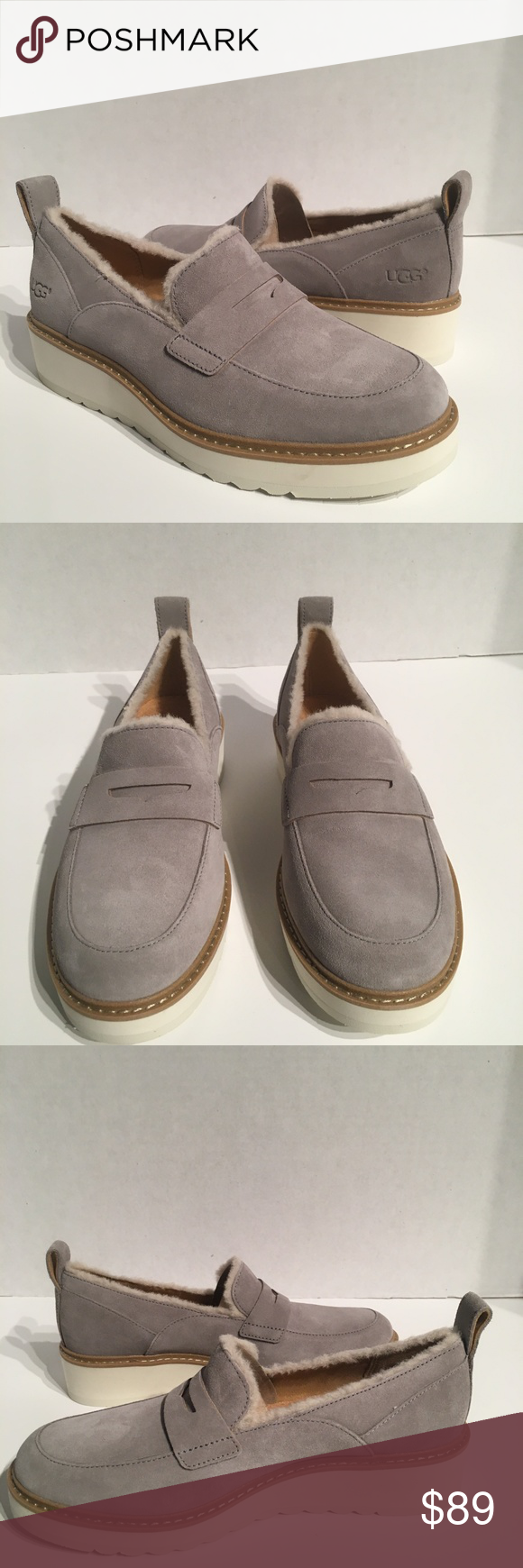 2541d0929bb Ugg Atwater Spill Seam Platform Loafer Grey Shoe New with box Buyers ...