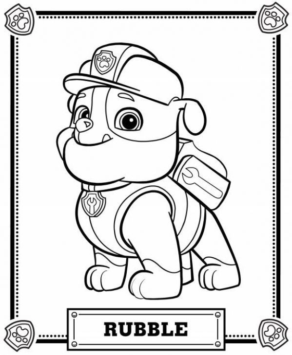 Rubble The Construction Pup From Paw Patrol Printable Coloring