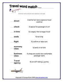 Esl English Vocabulary Printable Worksheets For Teaching Travel