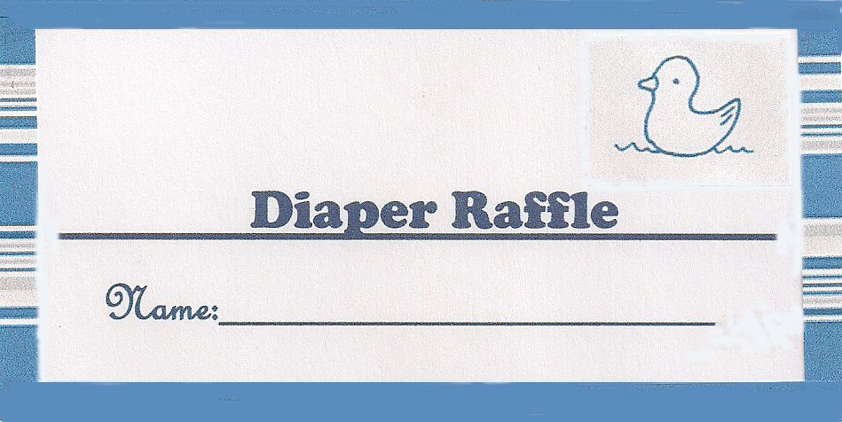 Blue Ducky Diaper Raffle Ticket  Parties    Raffle