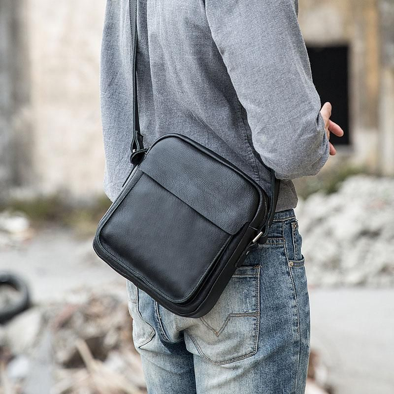 Black Small Leather Mens Shoulder Bags Messenger Bags for Men – iwalletsmen   shoulderbagsstreetwear e22b237b96
