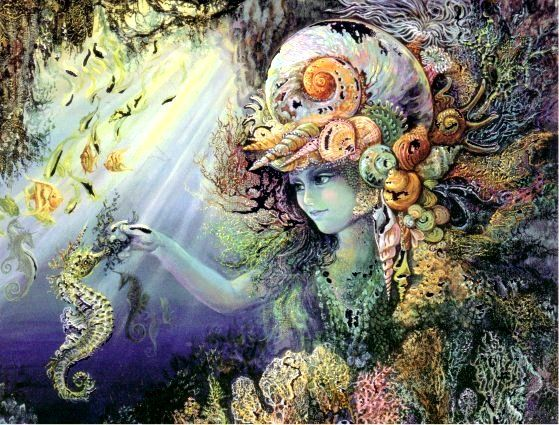 Shimmering Josephine Wall Matted Mermaid Shell Child Josephine Wall Fantasy Art Art