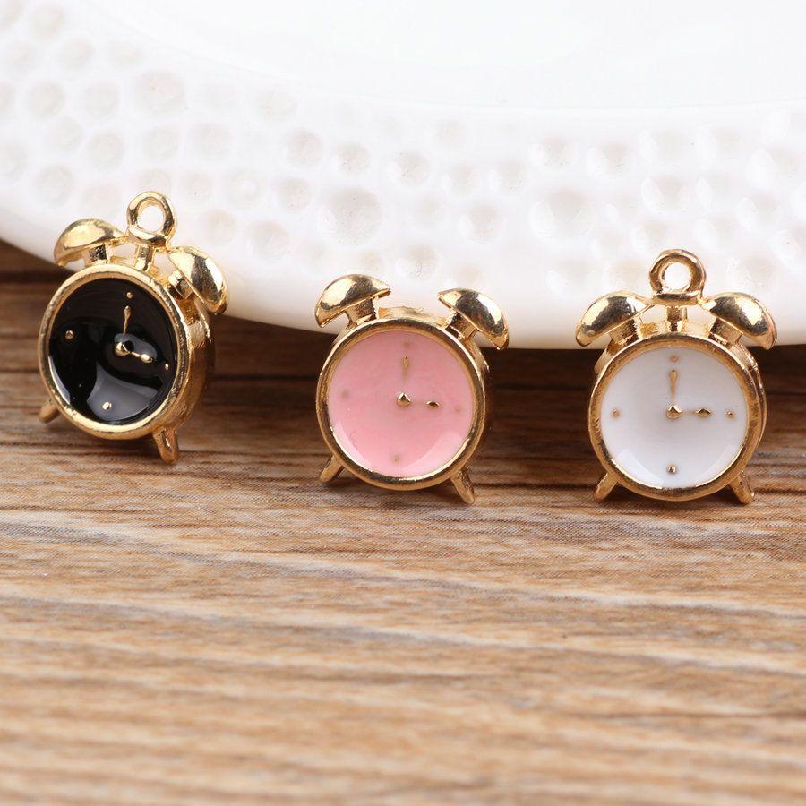 Free shipping mini order pcs vintage clock oil drop alloy charms