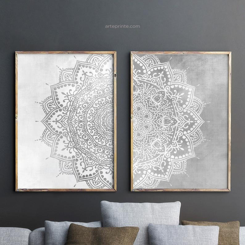 Boho Mandala Wall Art Set Of 2 Prints Gray Bedroom Decor Boho Etsy Mandala Wall Art Wall Art Sets Mandala Wall Decor