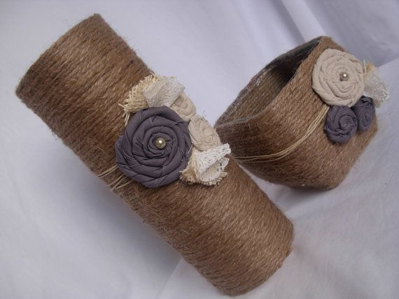 Vase And Candle Holder Set With Rope Burlap By