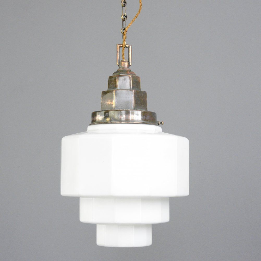 For sale: Large Art Deco Opaline Pendant Light, Circa 1920s