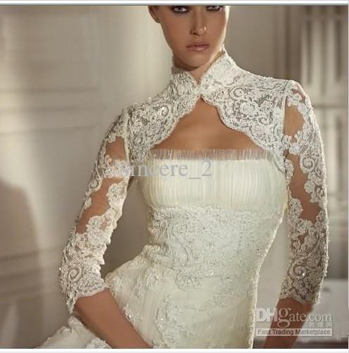Whole Bridal Dress Ivory White Lace Wedding Bolero Shrug Long