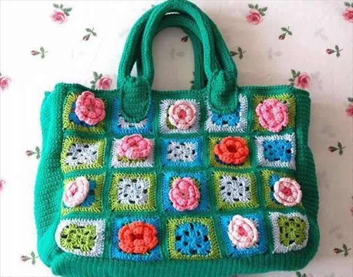 42 Fabulous Handmade Crochet Bag & Purses | DIY to Make Crochet bag of many colors with flowers and granny squares. Be sure to add a liner inside so you don't lose anything.