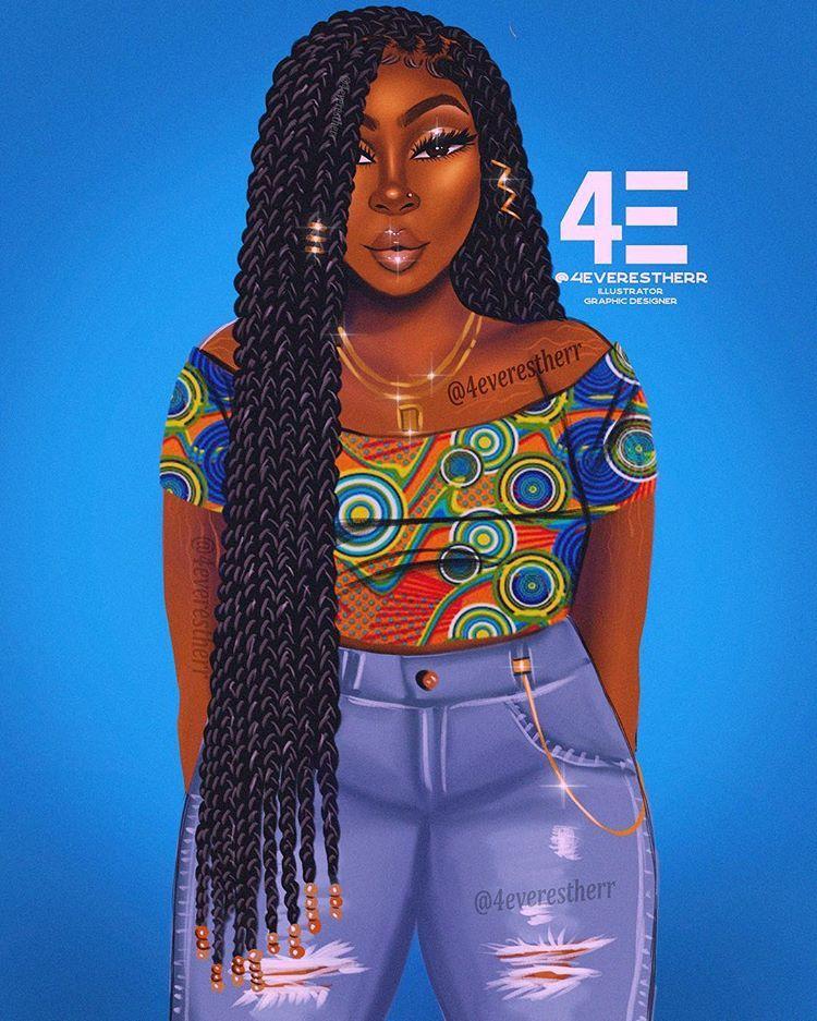 Babyblue Illustration Drawing Art Artist Digitalart Digitalpainting Beauty Hairstyle Shortha Black Girl Cartoon Black Girl Art Black Love Art
