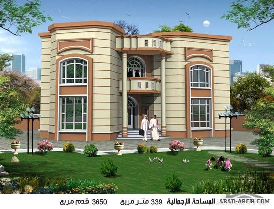 خريطة فيلا دورين نمط خليجى بمساحه اجمالية 339 متر مربع Architectural Design House Plans 3d House Plans House Front Design