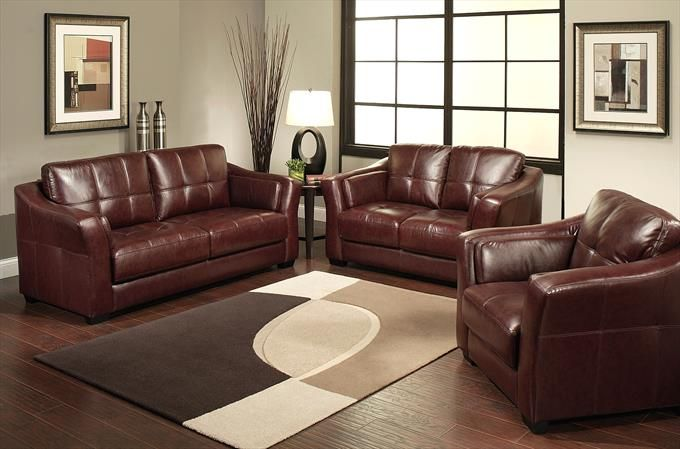 Miranda Italian Leather Sofa, Loveseat And Armchair Set In ...