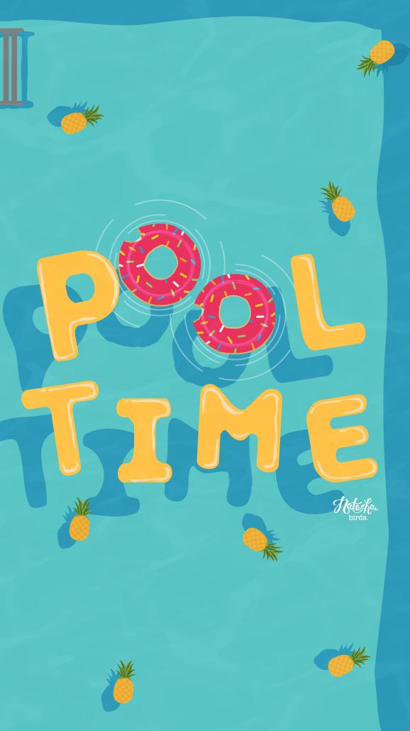 Cute Dog Doodle Wallpaper Pool Time Wallpaper Bg Summer Wallpaper Iphone