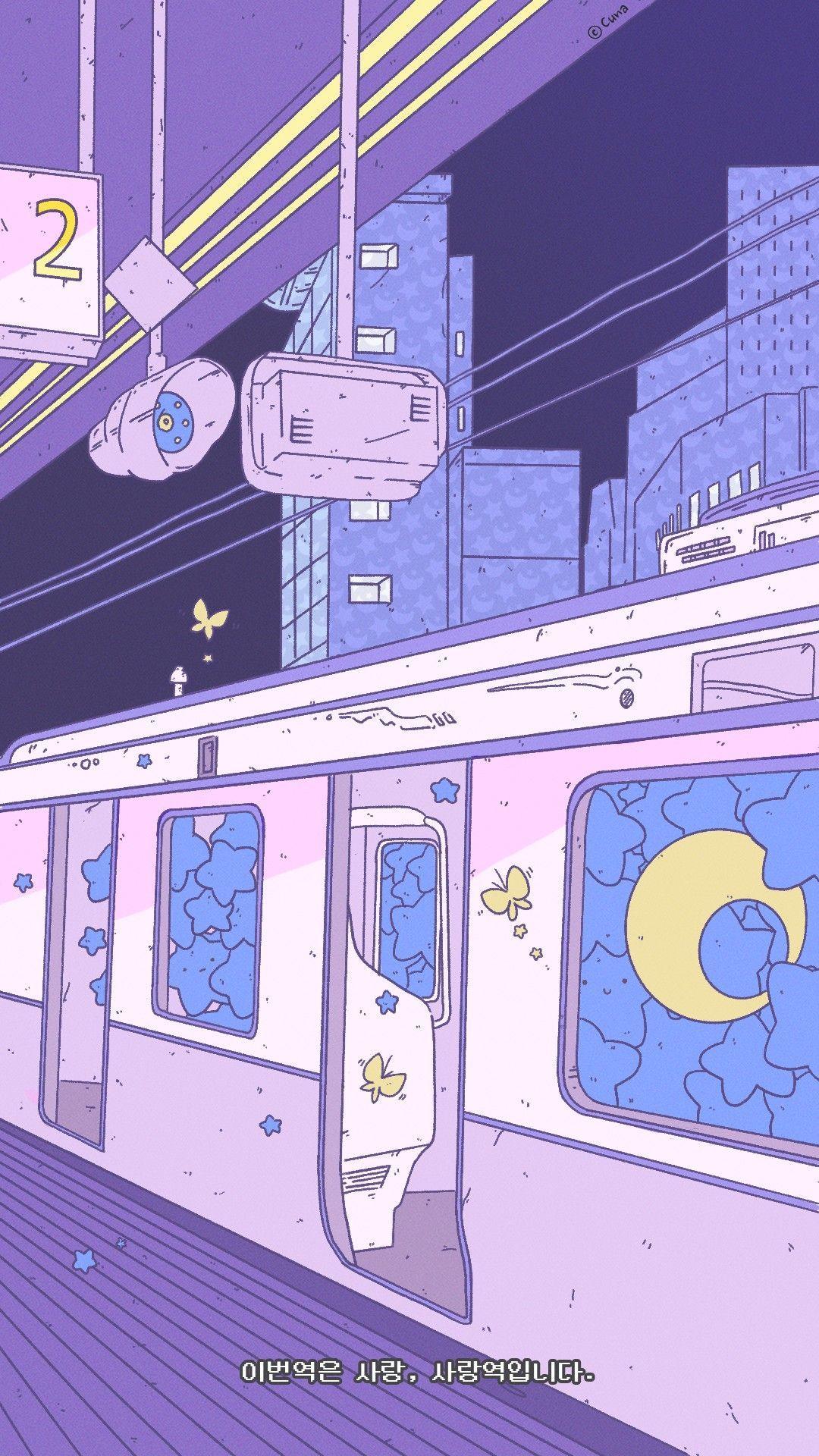 #the purple japanese train aesthetic | Aesthetic pastel wallpaper, Pas