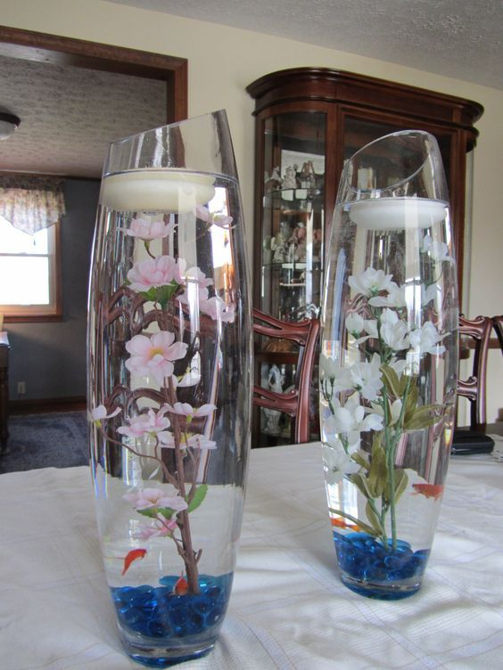 Practice centerpeices for wedding reception flowers still for Fish centerpieces wedding receptions