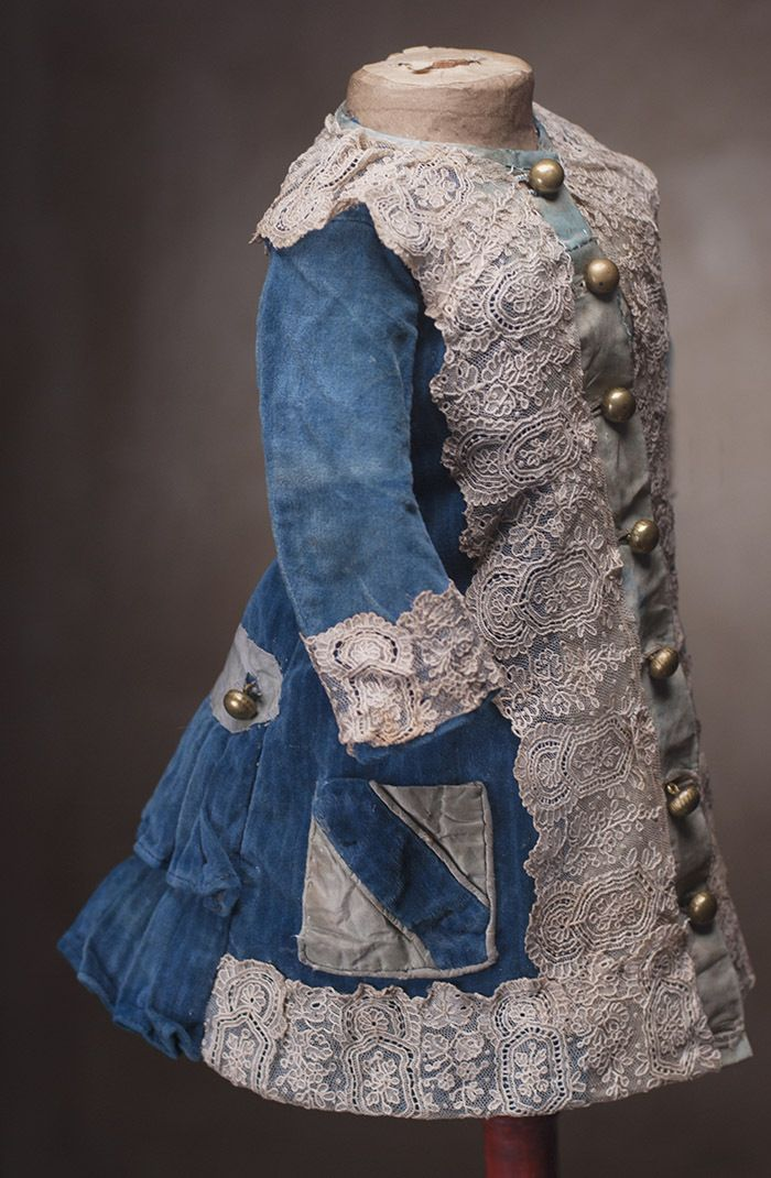 """Antique ORIGINAL French Very Beautiful Princess Style dress Dress for Jumeau Bru Steiner Doll about 21-22"""" (53-56 cm)"""