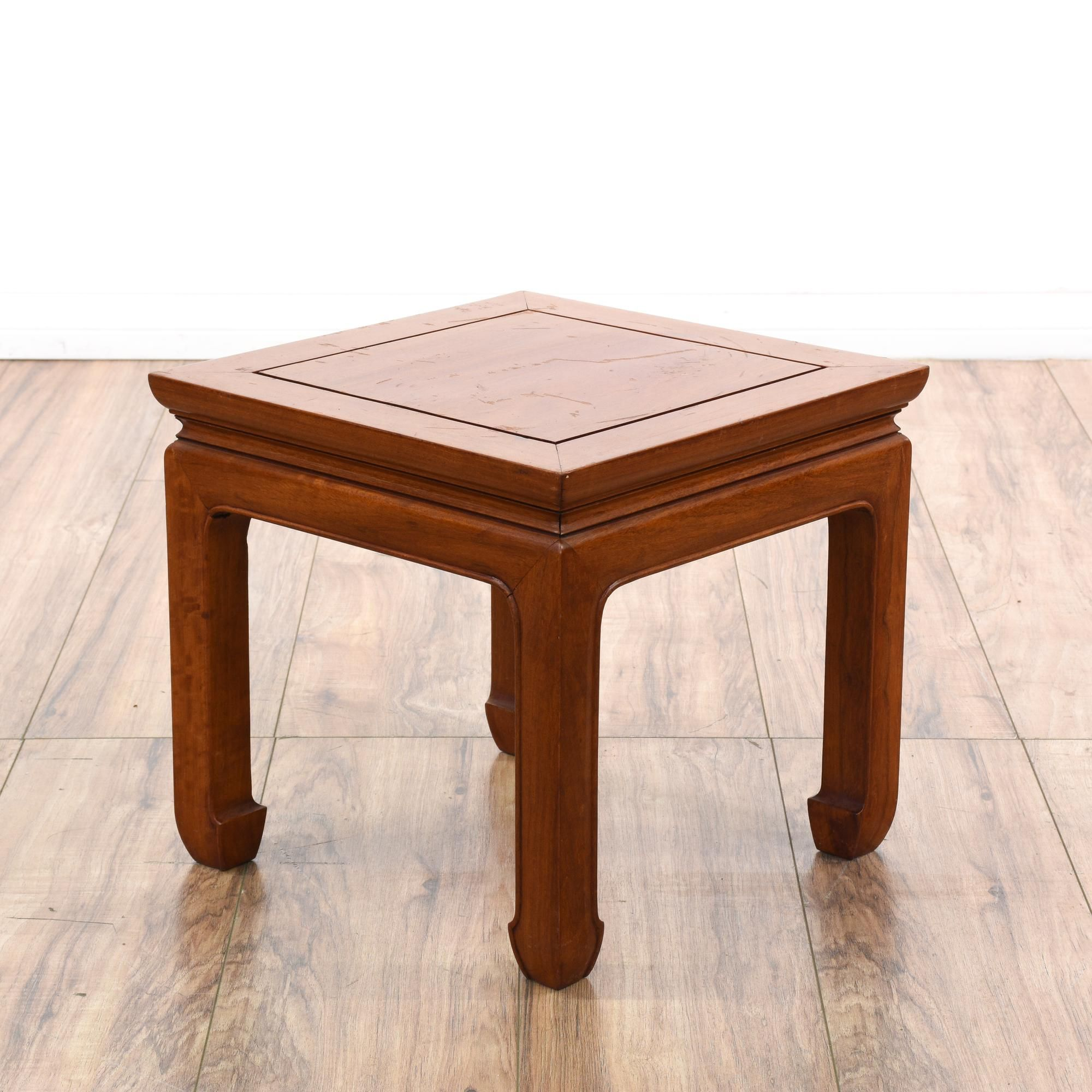 This Asian End Table Is Featured In A Solid Wood With A Glossy Teak Finish.  This Small Side Table Has A Square Table Top, Curved Chow Legs And Simple  Carved ...