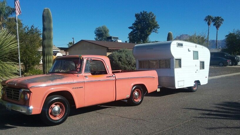 1964 Dodge D100 and 1968 Scotsman travel trailer
