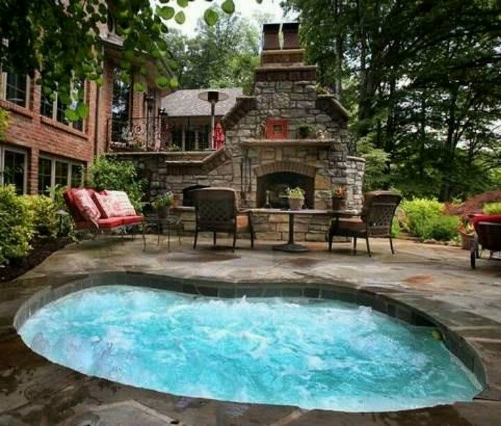 Stone Patio With Large Hot Tub U0026 Massive Outdoor Fireplace Oh My! I Love  The Feel Of This Outdoor Area!