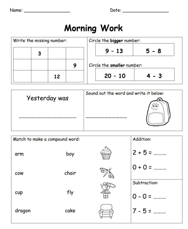 Kindergarten Morning Work Part 3 Daily Language Arts And