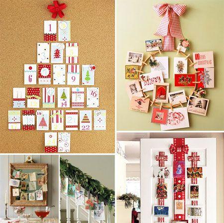 Decorar Con Tarjetas De Navidad Pequeocio Ideas Para Arboles De Navidad Decoracion Arbol De Navidad Decoracion Navidena