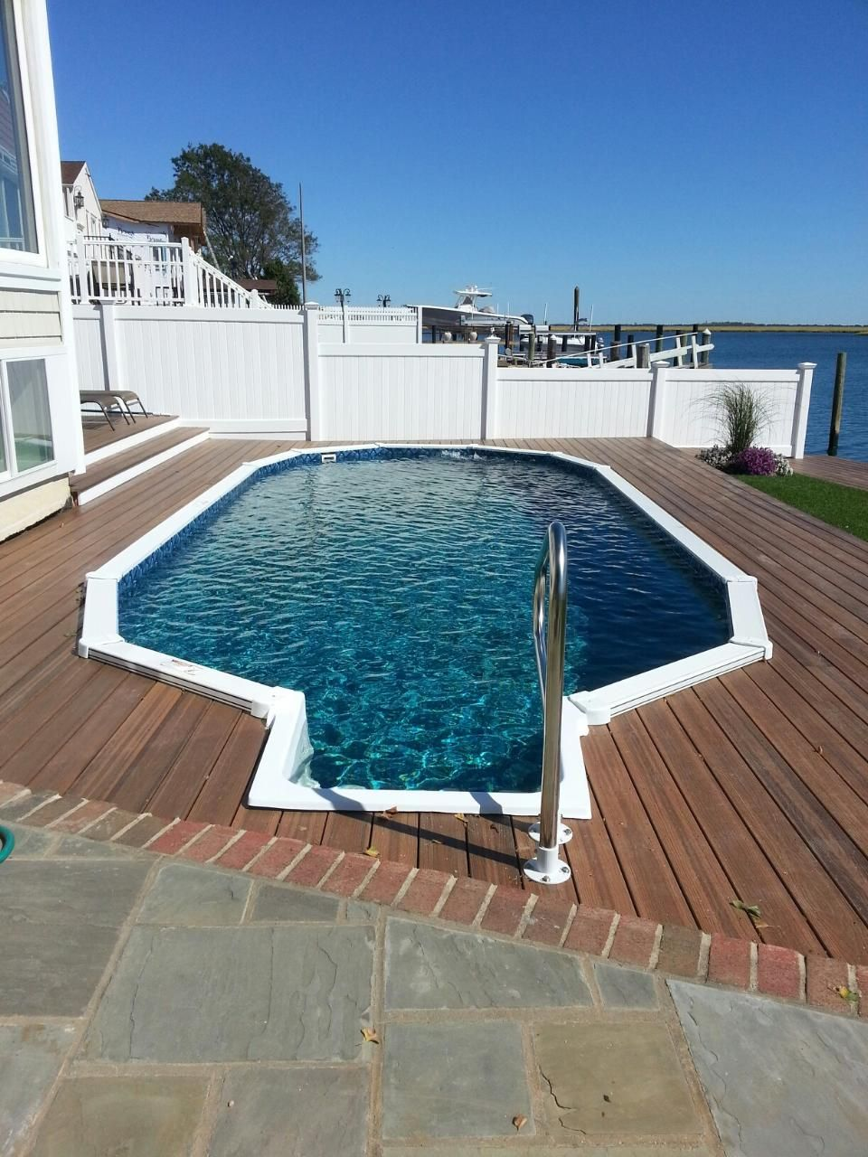 aquasport semi inground pool with step long island. Black Bedroom Furniture Sets. Home Design Ideas