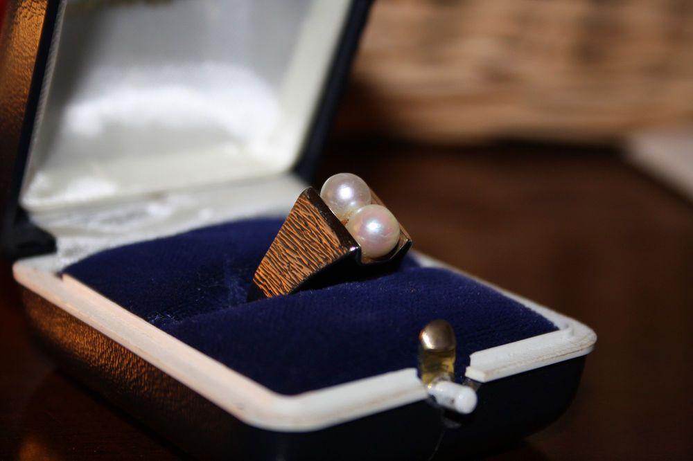 Vintage Ring Damen Goldring 333 er gold Perlen