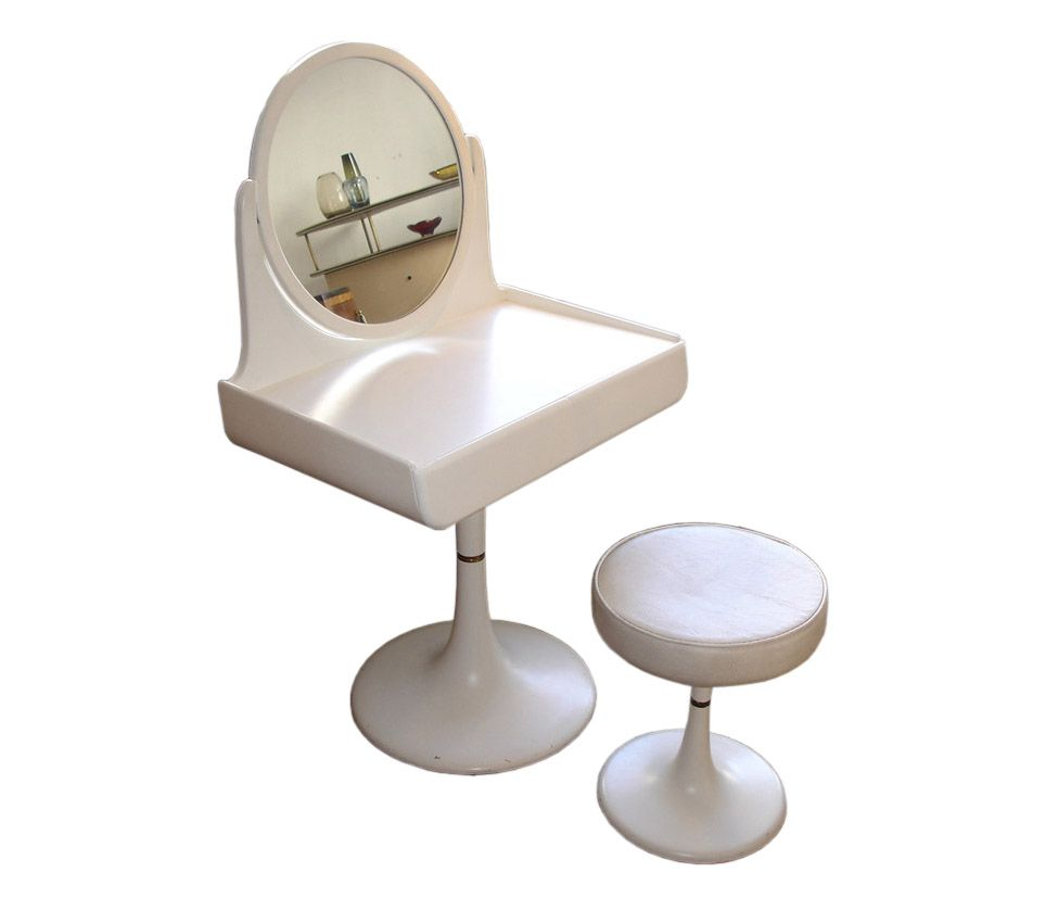 Rare E Age Dressing Table And Matching Stool By Isku Finnish Circa 1970s Modern