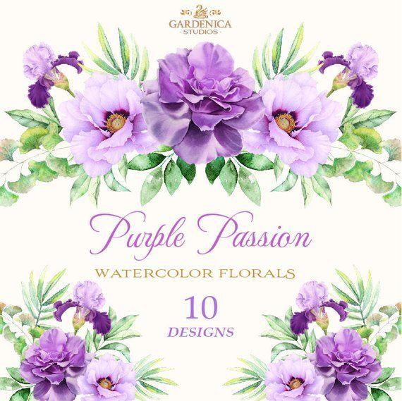 Watercolor Flowers Clipart Watercolor Purple Flowers Purple Etsy Cartoes Vintage Convite De Casamento Moldura Floral