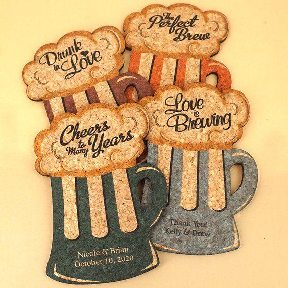 Wedding Cork Coaster: Wedding Favor Coasters, Fall Wedding Favor, Personalized