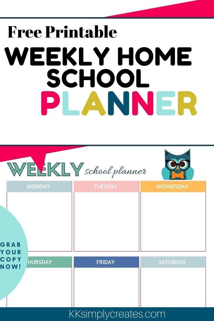 Free Printable Weekly Homeschool Planner KK Simply