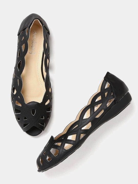 Buy online Peep Toes Flats Shoes - Dressberry women black peep-toed flat  shoes from Myntra