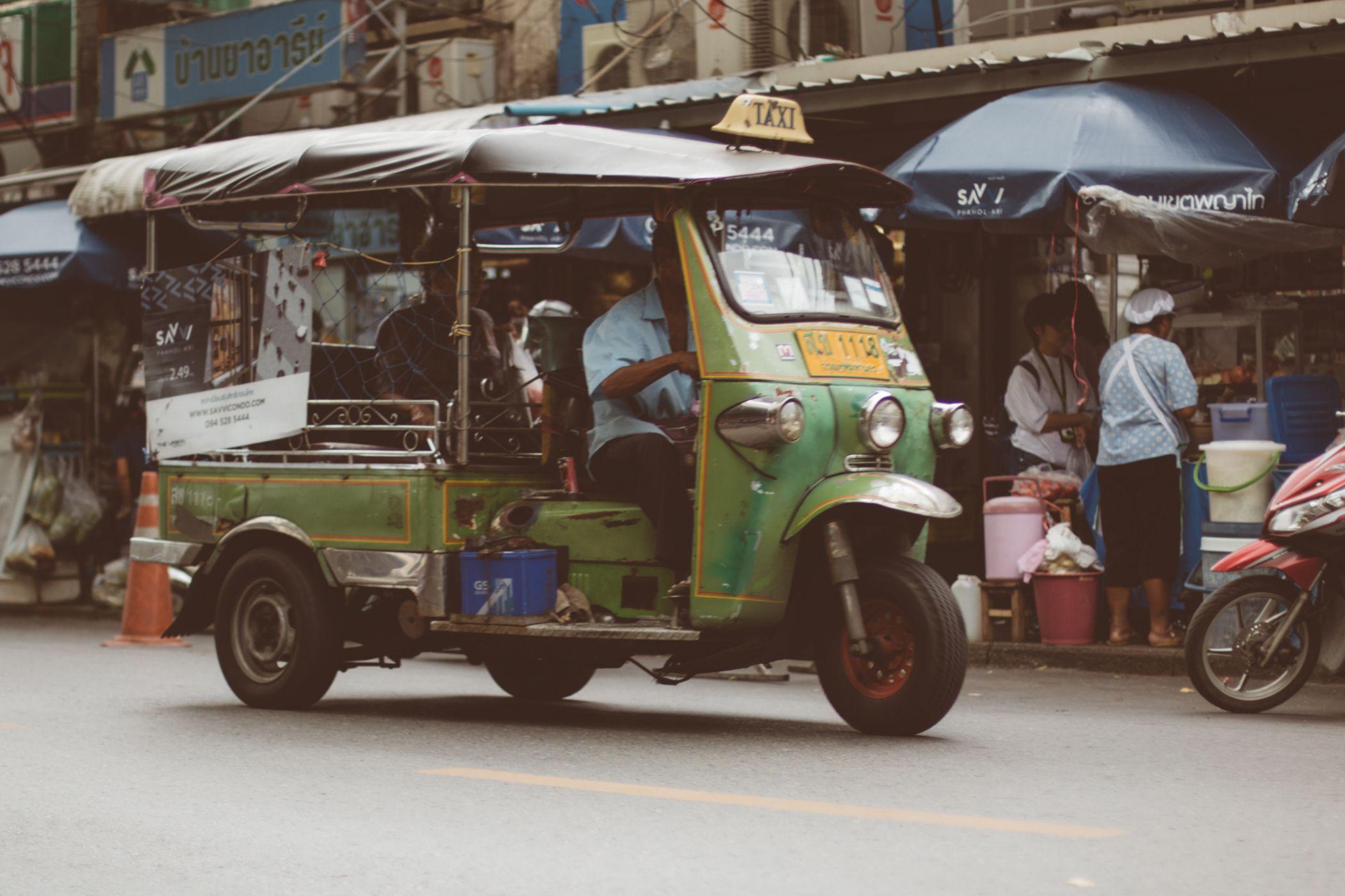 Green tuk tuk in bangkok thailand bangkok social studies