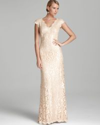 b2eacfe415 Women s White Lace Gown Cap Sleeve V Neck Sequin