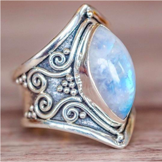 Vintage Silver Stone Ring is part of Big stone ring, Wedding jewelry, Boho jewelry, Rainbow moonstone ring, Moonstone ring, Silver jewelry -  You will shine brightly as you wear this ring which is uniquely designed to make you stand out  Metal Alloy  Surface Width 7 3 mm