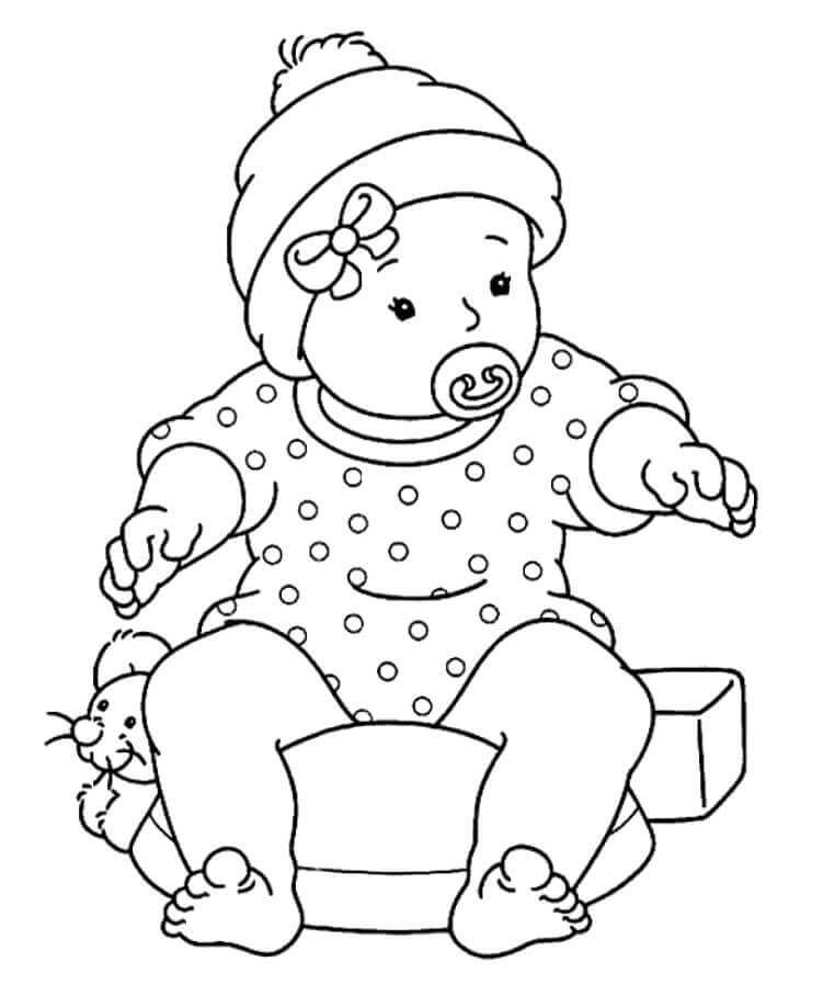 Baby With A Pacifier Coloring Page Baby Coloring Pages Coloring Pages For Girls Cute Coloring Pages