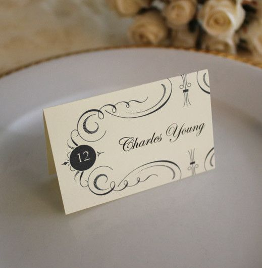 Elegant Place Card Template  Place Card Template Place Card And